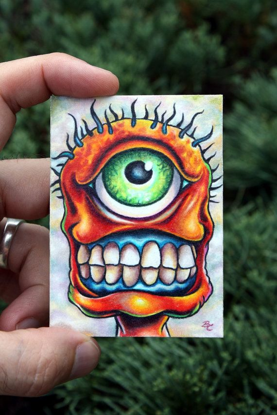 Original monster ACEO art illustration card by by bryancollins, $45.00