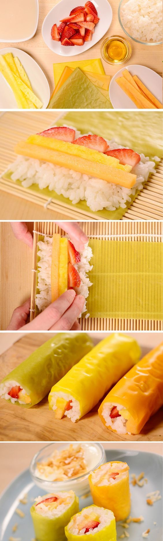 How to make Frushi! A fun snack for the kiddos.