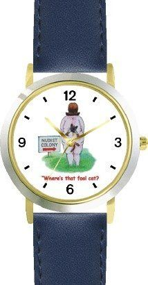 Cat Stuck in Woman's Buttock Crease Cat Cartoon or Comic - JP Animal - WATCHBUDDY® DELUXE TWO-TONE THEME WATCH - Arabic Numbers - Blue Leather Strap-Size-Children's Size-Small ( Boy's Size & Girl's Size ) WatchBuddy. $49.95. Save 38%!