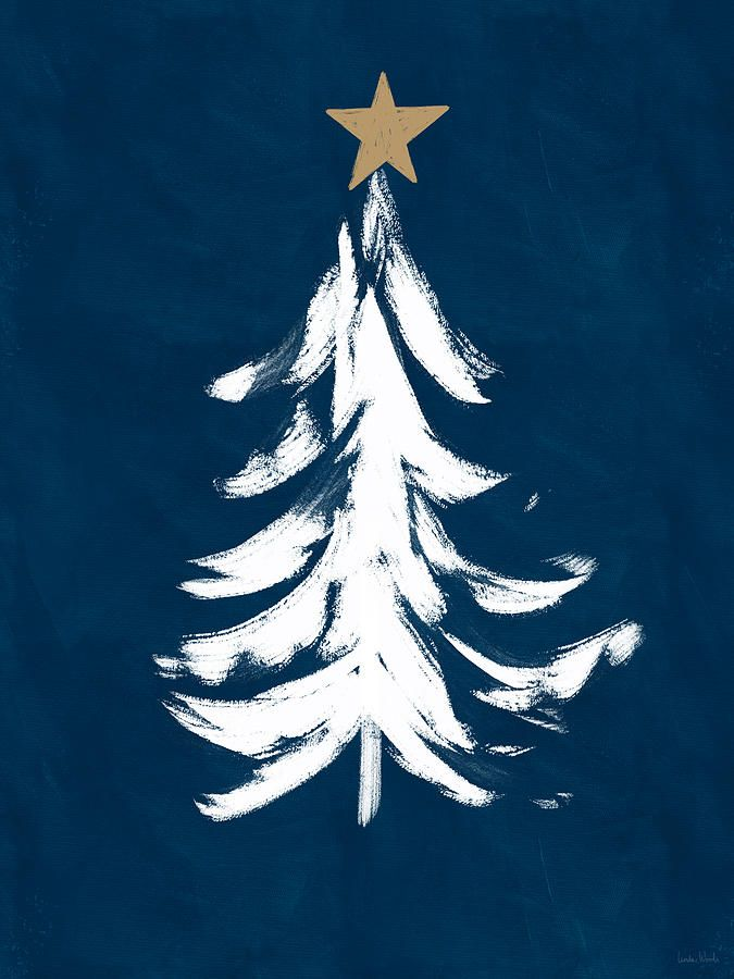 Mixed Media Navy And White Christmas Tree 1 Art By Linda Woods By Linda Woods Affiliate Ad Sponsored Navy In 2020 Art Inspiration Art White Christmas Tree