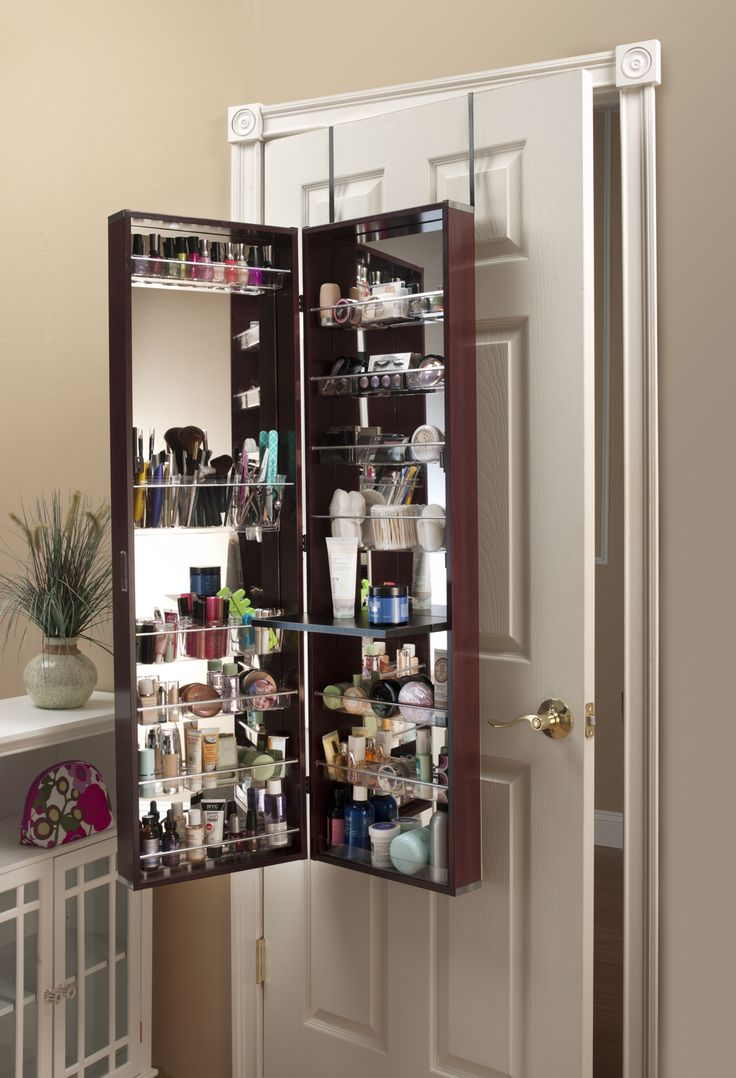Make Up Organizer Mirror Cosmetic Armoire Cherry