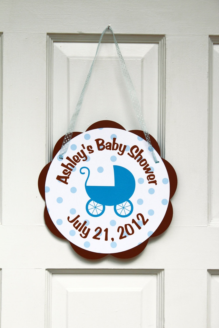 23 best blue and brown baby shower images on pinterest for Baby shower door decoration