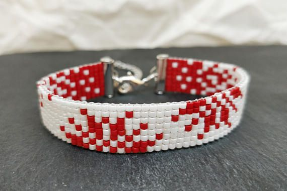 Christmas bead woven bracelet with snowflake/ Red & white loom
