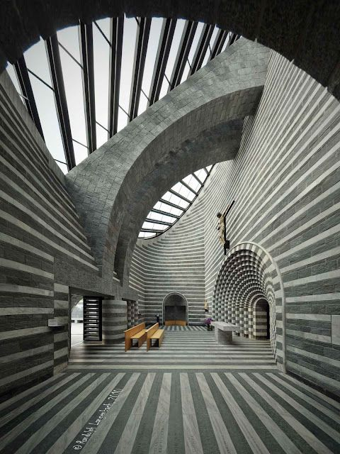 Mario Botta, Church of San Giovanni Battista in Mogno (another view with better lighting)
