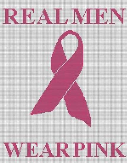 Breast Cancer Knitting Patterns : Crochet pattern breast cancer ribbon real men wear pink afghan cross stitch k...