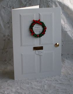 white Christmas door card - link to tutorial for wreath provided - bjl