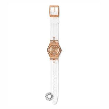 YLG403 Γυναικείο ρολόι Fancy Me Pink Gold της σειράς IRONY του ελβετικού οίκου SWATCH με λευκό καουτσούκ και ροζ επίχρυση κάσα. Αποστολή εντός 24 ωρών #Swatch #irony #ροζ #σιλικονη #ρολοι