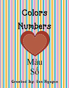 Helpful Colors/Numbers Flash Cards  English & Vietnamese!