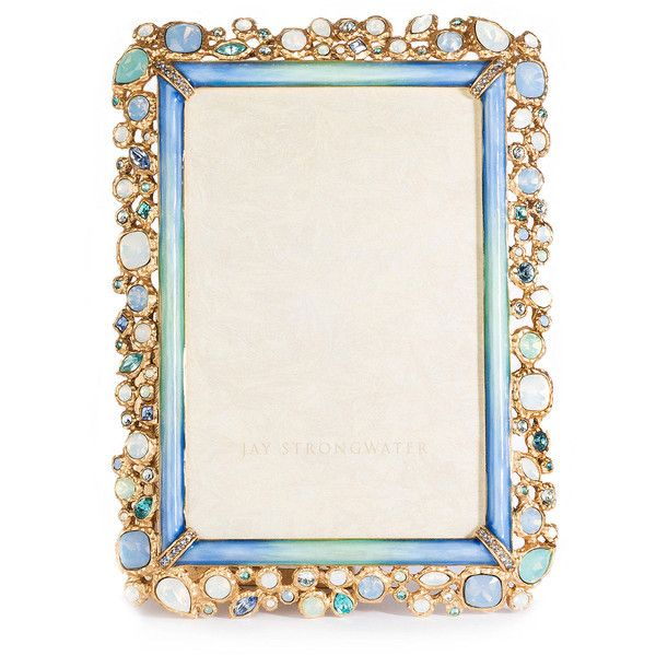 Jay Strongwater Emery Bejeweled Frame (€905) ❤ liked on Polyvore featuring home, home decor, frames, blue, blue frames, blue home decor, jay strongwater, matte frames and jay strongwater picture frames