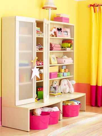 Cute storage for a kid's room. Love the buckets! #organize #BHG