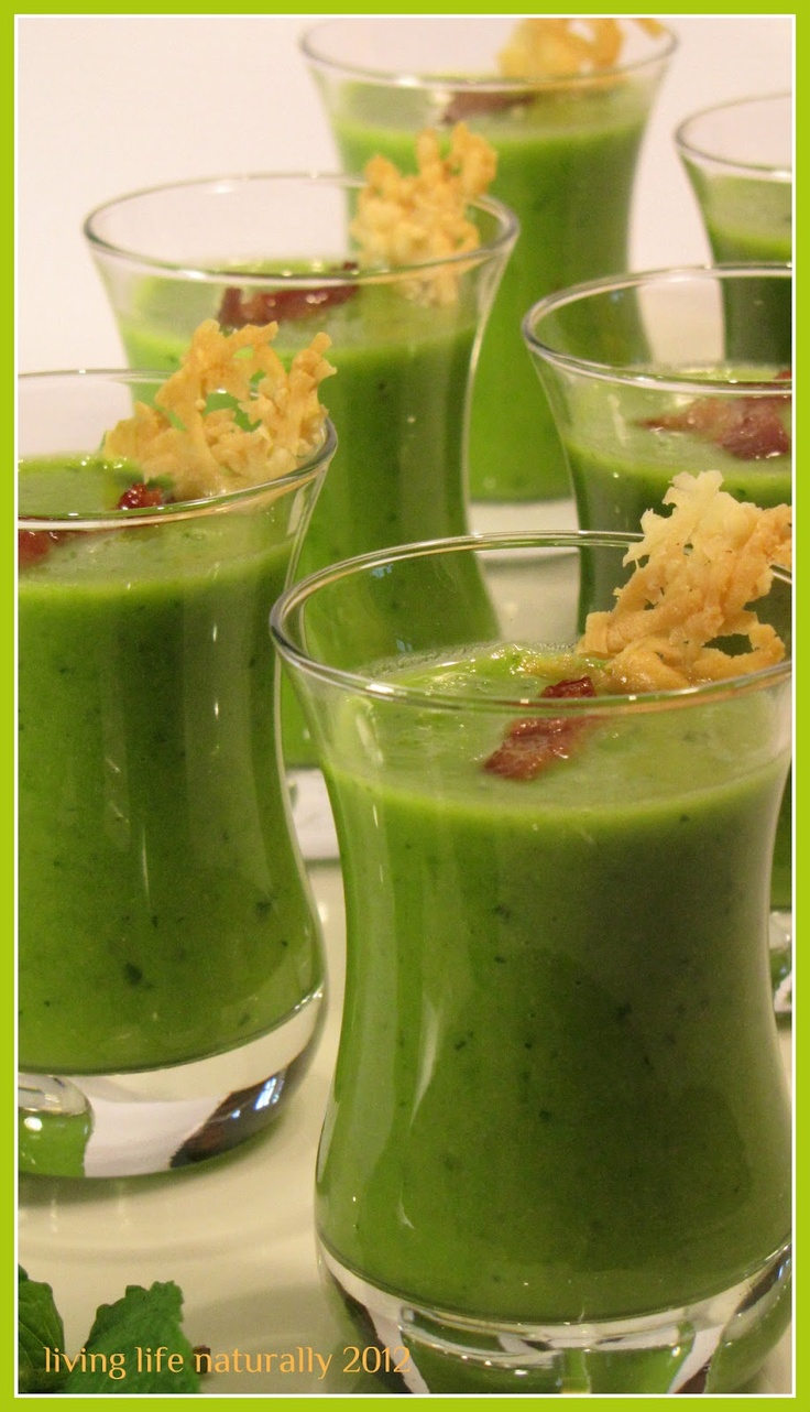 Green Pea Soup Shots with Pancetta and Mint