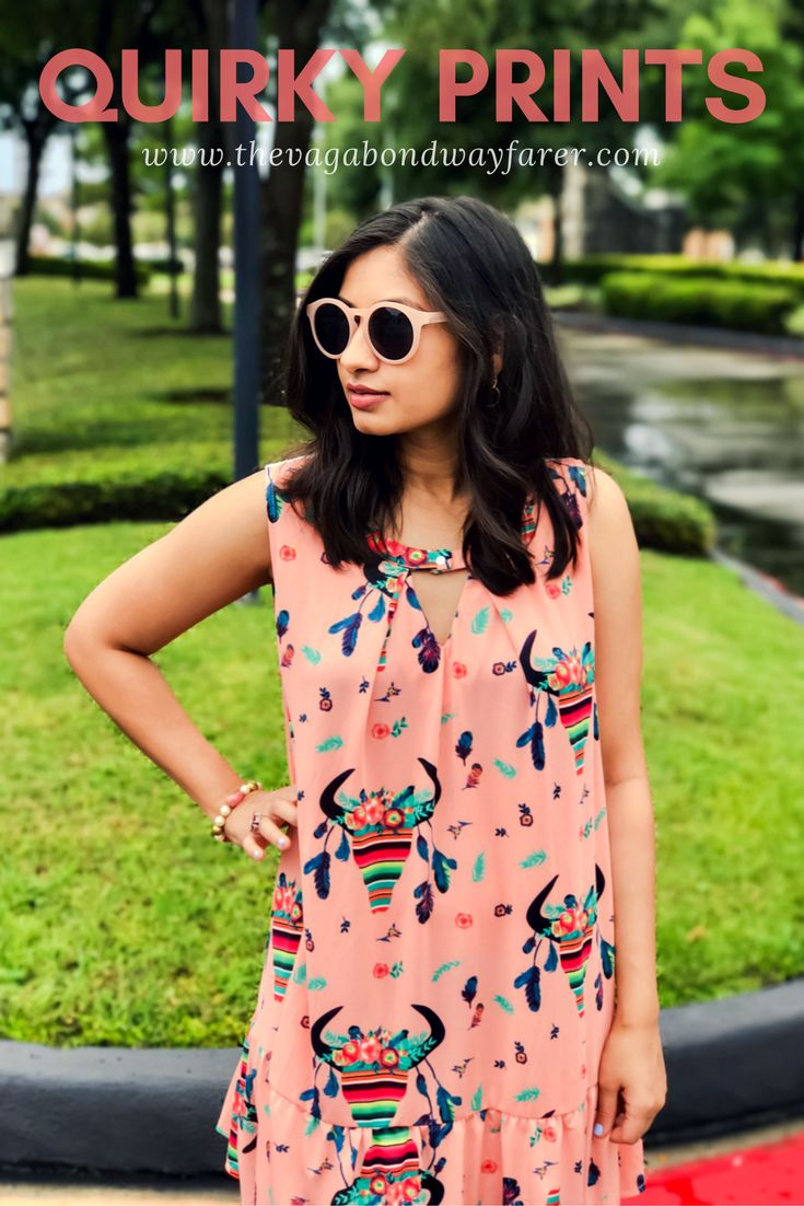 Quirky Print Dress - Giddy Up Glamour, Jcrew Sunglasses