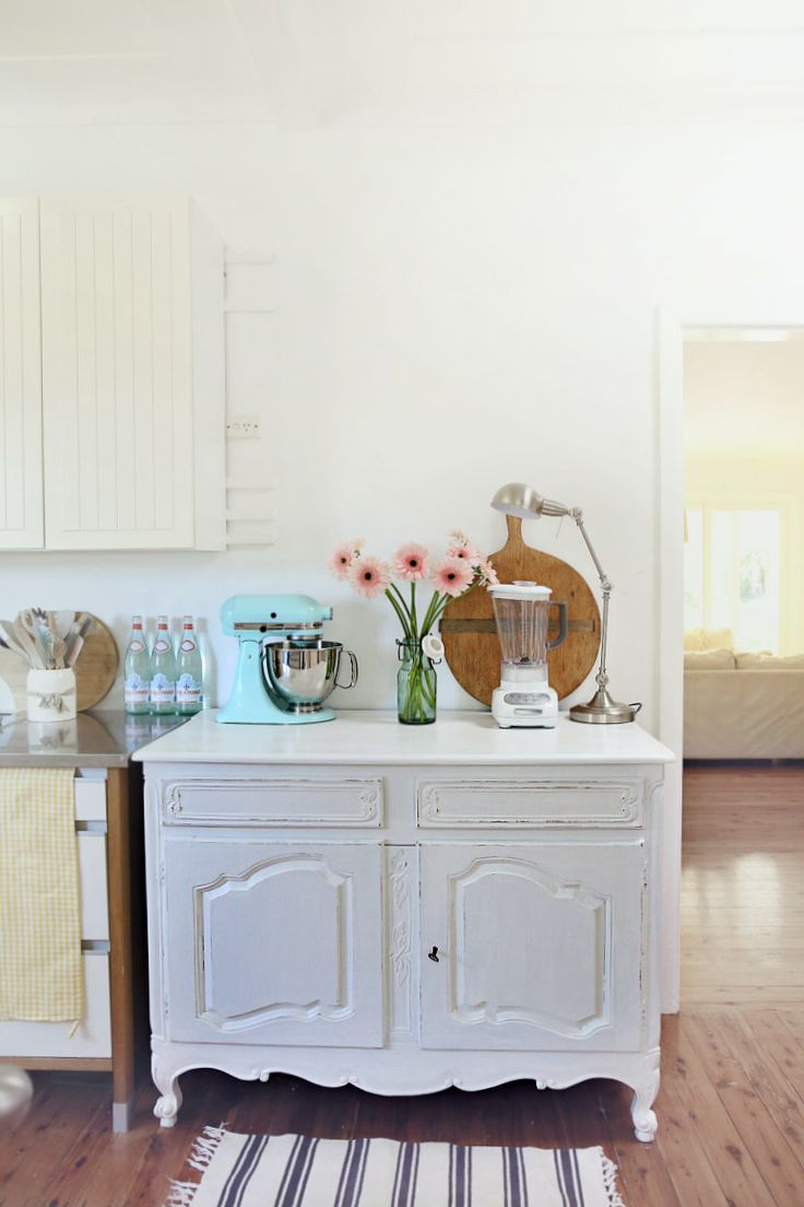 Clever idea to use furniture,  beach cottage coastal blog kitchen unit makeover abeachcottage.com