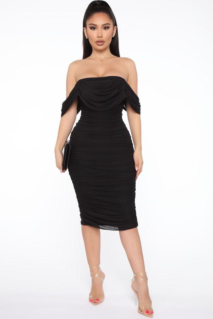 Bad For The Night Bandage Midi Dress Black in 2020