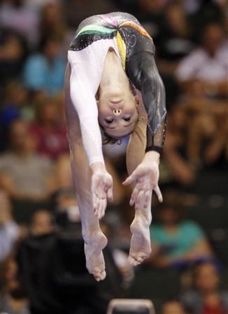 McKayla Maroney competes on the balance beam at the U.S. gymnastics