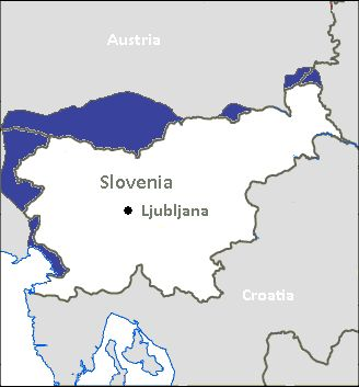 Map of Slovenian language in Slovenia and border regions