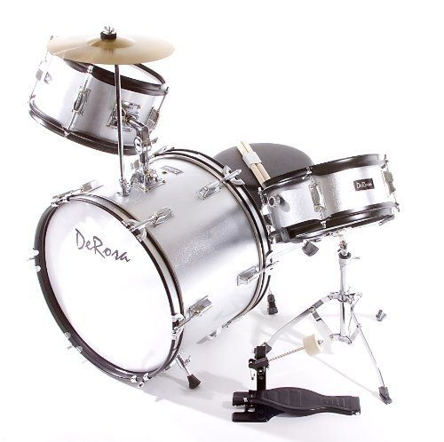 De Rosa DRM316-SL Junior 3 Piece 16 Inch Drum Set with Chair, Silver by De Rosa. $111.83. De Rosa Junior Drum Set is the ultimate drum kit for any young aspiring drummer. This set comes with everything your drummer will need to start playing.  Built using real drum specifications the De Rosa Junior drum set is made using Birch and features authentic metal hardware. The materials used in these sets are equivalent to materials used in higher priced adult Drum Sets sets....