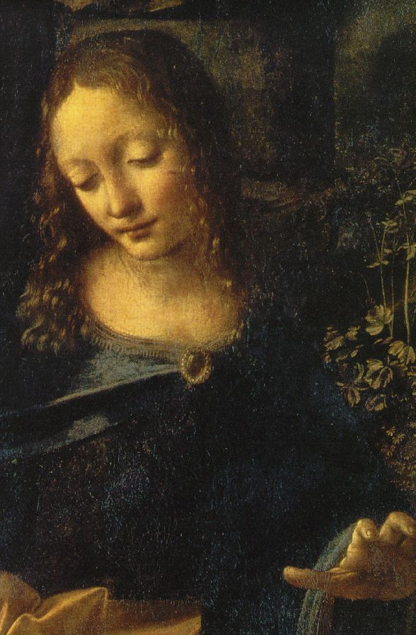 "Leonardo da Vinci (1452 - 1519) ~ 'Virgin of the Rocks"" (detail) ~ 1483-1486 ~ Louvre Museum."