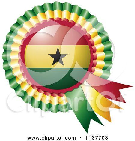 Clipart Of A Shiny Ghana Flag Rosette Bowknots Medal Award - Royalty Free Vector Illustration by MilsiArt