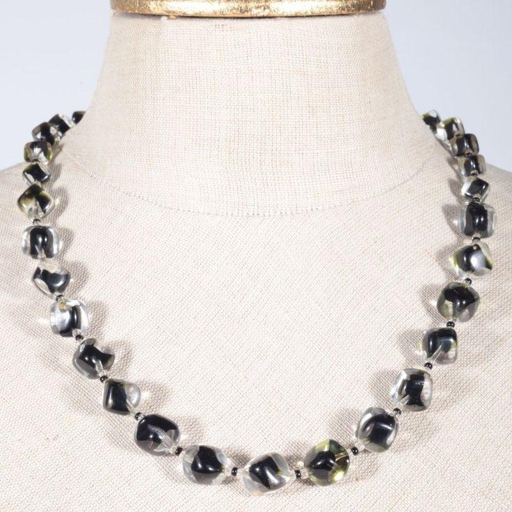 Glasperlen Collier Kette Halskette Glas Perlen schwarz grün klar alt Vintage
