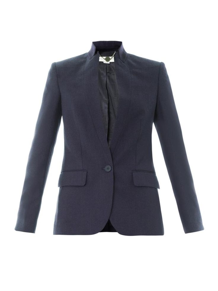This navy-blue textured wool tailored jacket has slim twisted notch lapels  and a single button centre front fastening.
