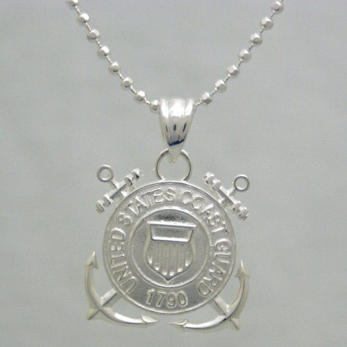 """COASTIE NECKLACE!!  US Coast Guard 925 Sterling Silver Necklace - United States Military Jewelry Pendant  USCG 1790 Charm And Chain - Armed Forces Emblem - USCG Items (20"""" Chain and Pendant) R&M"""