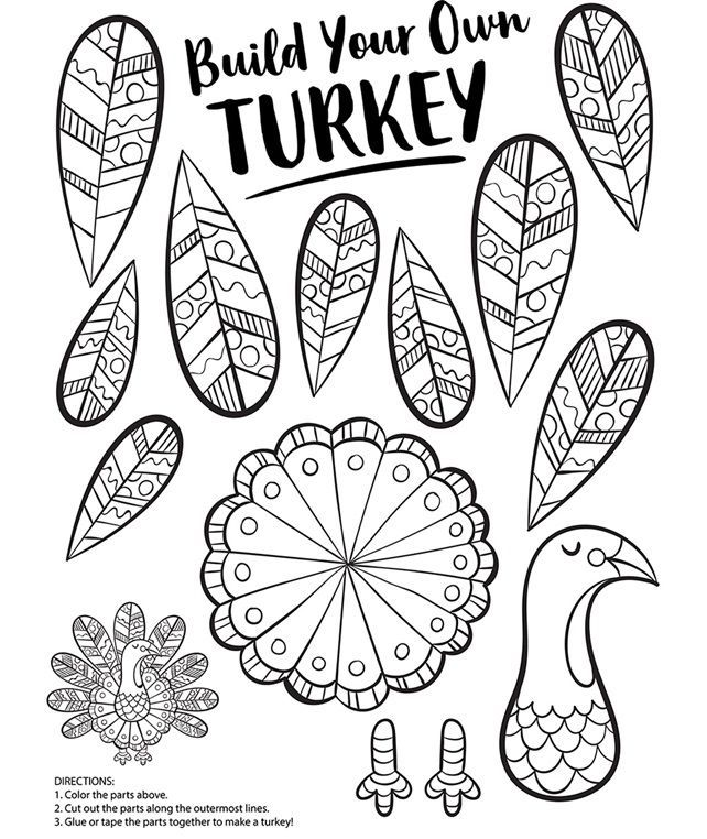 Build Your Own Turkey Printable This Would Be A Perfect Project For The Kid Free Thanksgiving Coloring Pages Thanksgiving Coloring Pages Turkey Coloring Pages