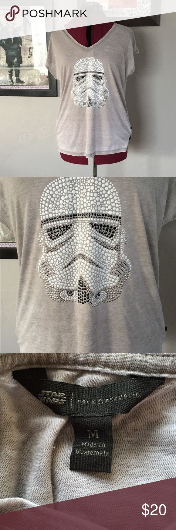 Stormtrooper t shirt Distressed lightweight tee with embellished stormtrooper on front. Runs large Rock & Republic Tops Tees - Short Sleeve