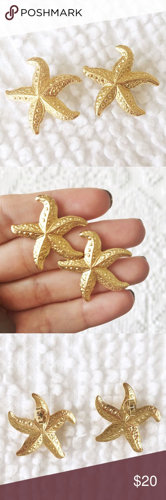 Vintage Mermaid Sea Star Earrings  Statement Earring Sized  Color: Gold   Phenomenal Vintage   Metal    ✨ Price is FIRM unless bundled  ✨ All items from a smoke free home  ✨ Please ask questions prior to purchase Vintage Jewelry Earrings