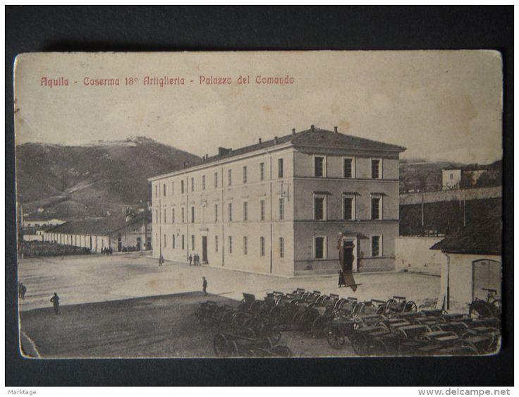 AQUILA 1916-CASERMA 18° ARTIGLIERIA-PALAZZO DEL COMANDO-PARCHEGGIO COCCHI DA ASSALTO-DOPO LE BIGHE AL COCCHIO-N°35563 - Delcampe.it