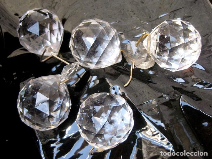 5 BOLAS CRISTAL RESTAURACION LAMPARAS ANTIGUAS O VINTAGE. LAMPARA lagrimas cristal bola - Foto 1