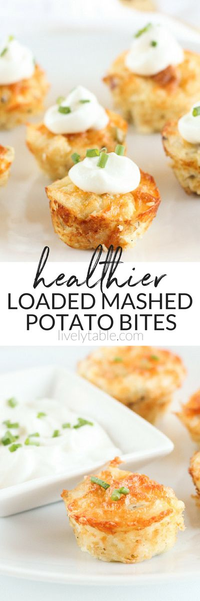 Healthier Loaded Mashed Potato Bites made with leftover mashed potatoes, chives, bacon, cheddar and Greek yogurt are a fun appetizer or side dish to change up your potato routine. (#glutenfree) #appetizer #mashedpotatoes #partyfood | via livelytable.com
