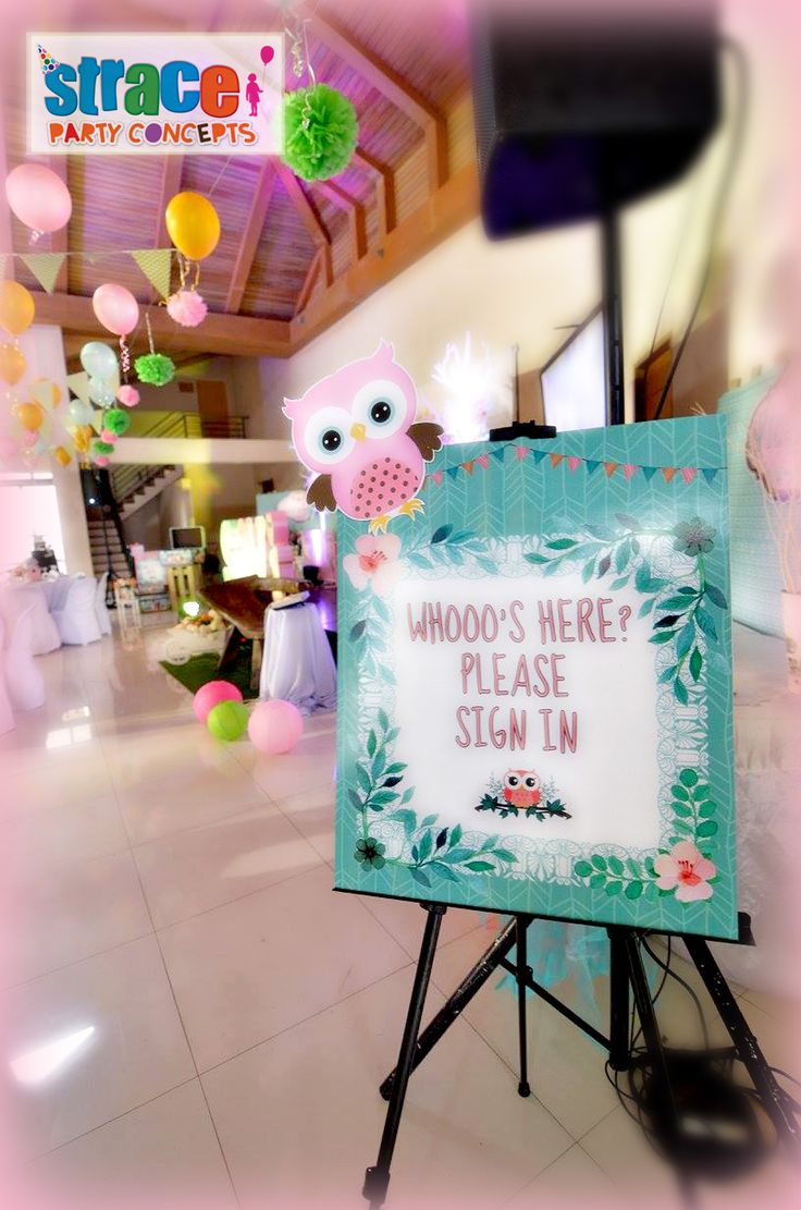 Owl Party Set-up by Strace Party Concepts: Welcome Standee in Easel Stand