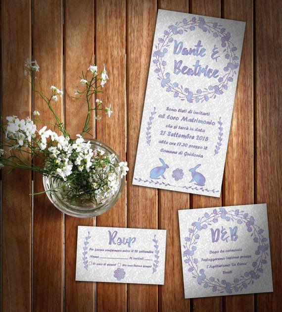 Kit inviti di nozze Lavender Bunny  Partecipazione di GraphoMela