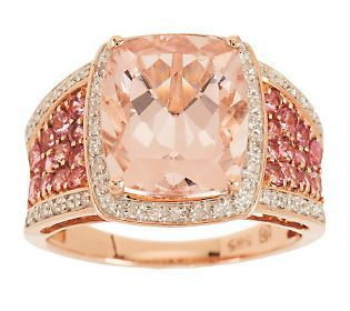 3.50 ct Morganite, Pink Tourmaline and Diamond Ring, 14K