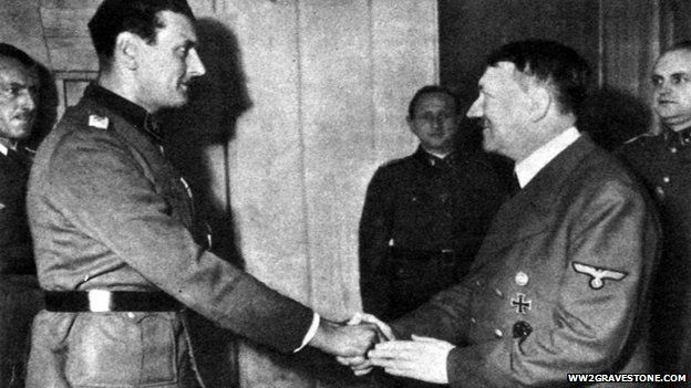 Adolf Hitler shakes hands with his top commando, Otto Skorzeny