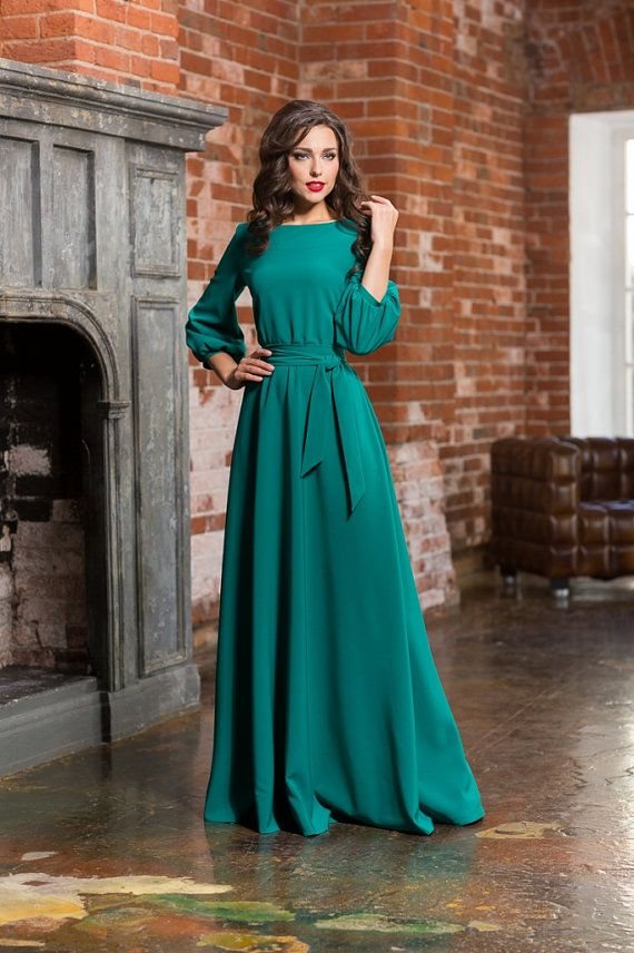Long turquoise woman dress floor Autumn Winter Spring dress Maxi dress with a belt 3/4 sleeves Evening dress with pockets Elegant maxi dress
