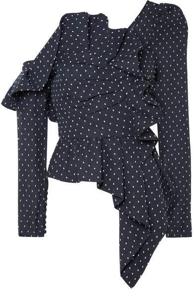 65afa89b9552e Self-Portrait - One-shoulder Ruffled Swiss-dot Chiffon Top - Midnight blue
