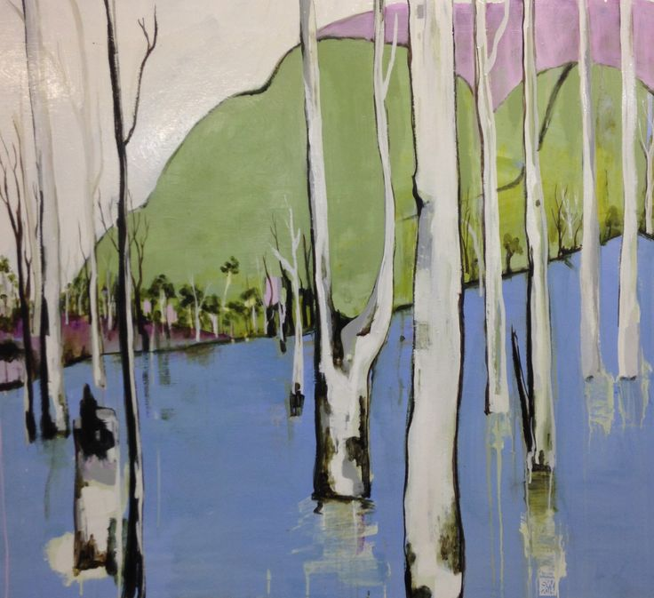 The river in flood  - enamel on board - (105 x 95 cm) available