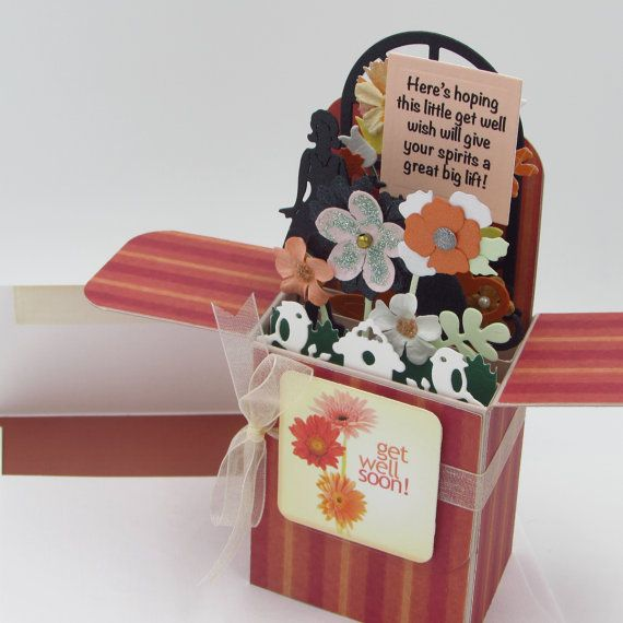 Explosion Box Card  Get Well Card In A Box  Card For by CARDSBYMOM