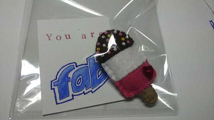 Handmade felt 'Fab' lolly brooch