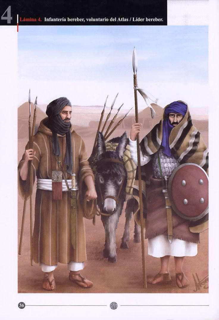 Almanzor's campaigns, 977-1002:  1: Berber infantryman, volunteer from Atlas;  2: Berber leader
