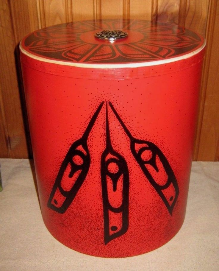 Northwest Tribal Feathers & Blossoms Birch Box Hand Crafted Indigenous Style #FolkArt