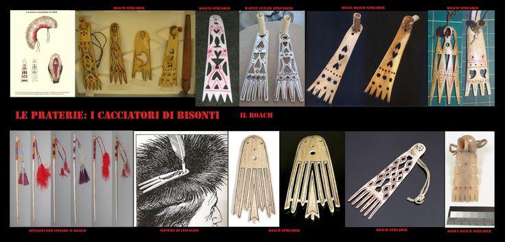 Accessori per il roach costituiti da placche (d'osso o di corno) e spilloni (di legno).