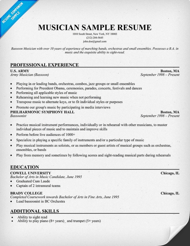 Resume Samples Examples Sample Musician Cover L Peppapp Example