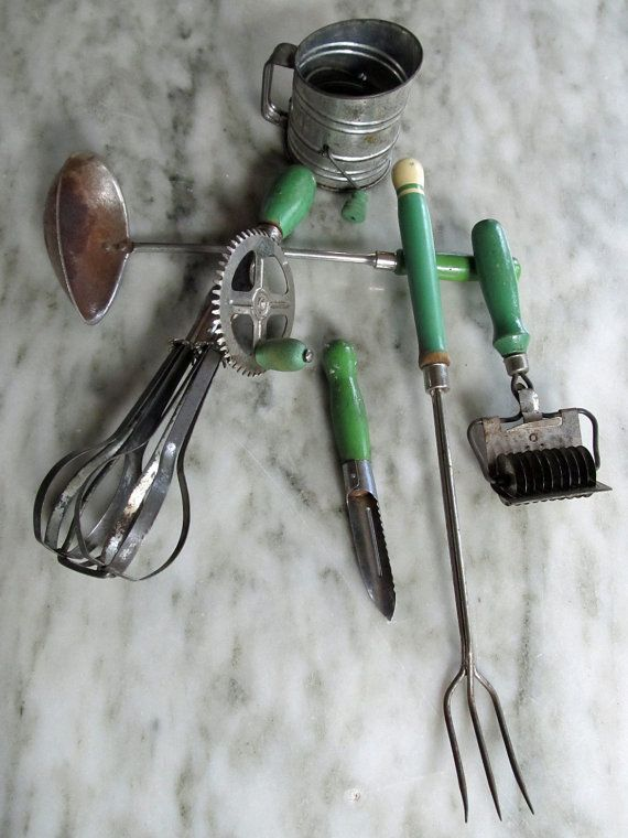Vintage 1930's Kitchen Utensils Green Handles  by JustTooMuch, $45.00