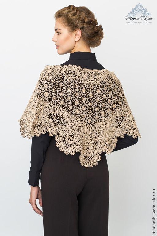 Купить Кружевная шаль «Жар-птица»из кашемира с шелком вологодское кружево - кружевная шаль