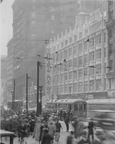 """Euclid077  TitleEuclid Avenue with streetcar traffic  SubjectEuclid Avenue (Cleveland, Ohio)  Streets  City & town life  Description""""Richman Bros. new store at 725-731 Euclid Ave."""" -- photo verso  CreatorCleveland News Co.  Location DepictedDowntown (Cleveland, Ohio)  Cleveland (Ohio)  Time PeriodReform and Challenges: 1900-1929  Date Original1927"""