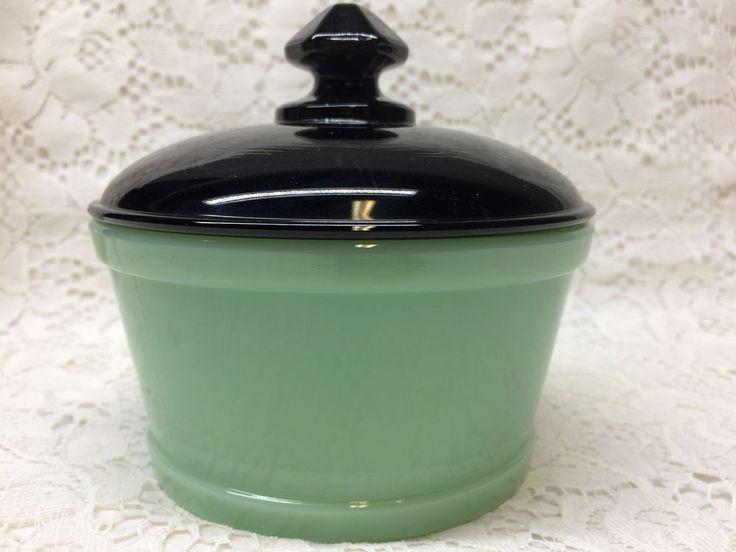 Jadeite green Glass butter candy dish jade milk tub 1 pound margarine bowl black