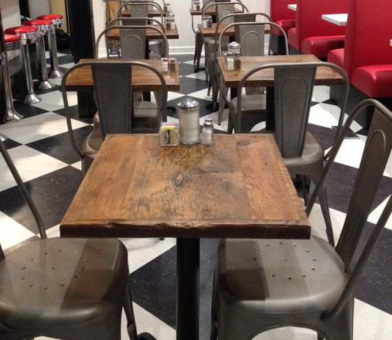 "Reclaimed Wood Table tops Restaurant TABLE TOPS Custom Made 24"" x 24"" white wash finish"